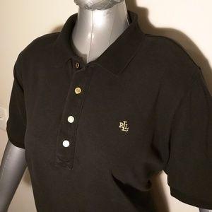 Lauren Ralph Lauren Black Four Gold Button Polo XL